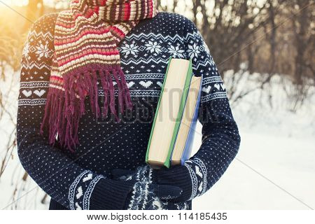 Woman Holding A Book.