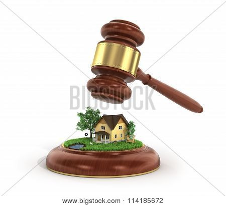Concept Of Suing For Property. 3D Illustration Of Wooden Gavel With House And Trees On A Grass.