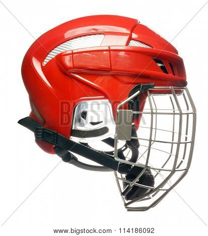 Red hockey helmet with cage isolated on white
