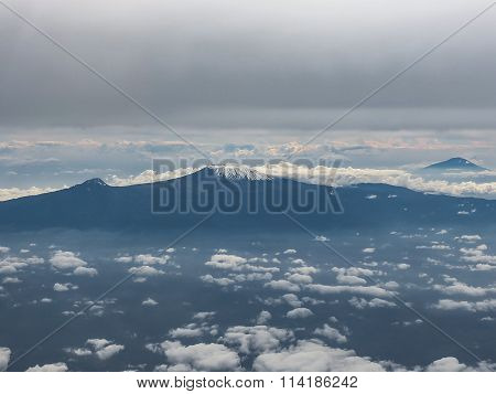 Mount Kilimanjaro seen from a plane