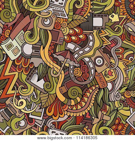 Cartoon hand-drawn doodles photography seamless patterns