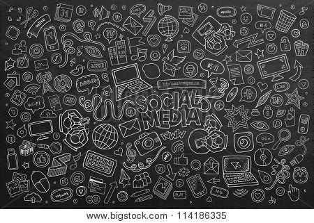Vector chalkboard line art Doodle cartoon set of objects