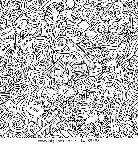 Cartoon hand-drawn doodles Internet social seamless pattern