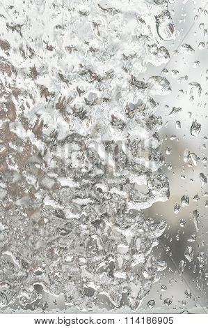 Freezing Rain Outside The Window On A Winter Day