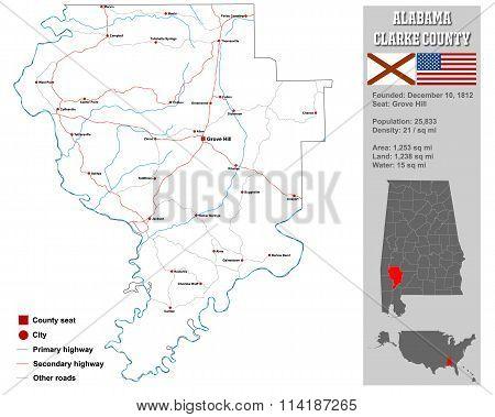 Alabama Clarke County Map
