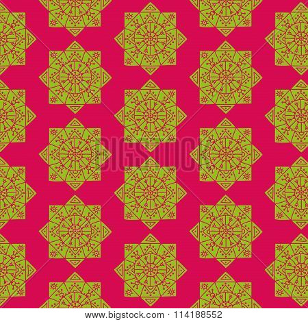 Bright seamless pattern with ethnic green rosettes on a pink background