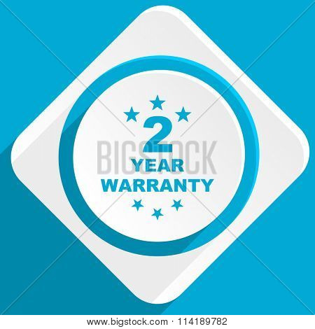 warranty guarantee 2 year blue flat design modern icon for web and mobile app