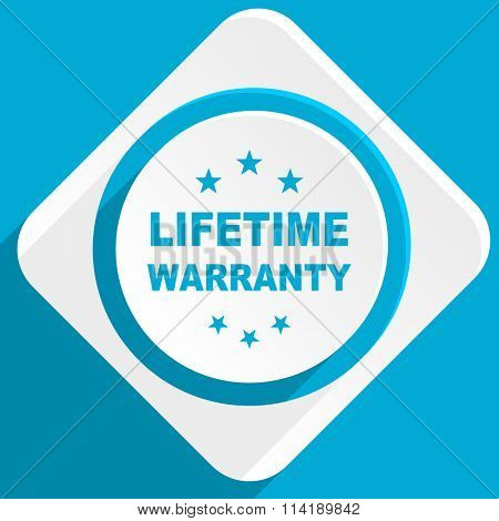 lifetime warranty blue flat design modern icon for web and mobile app