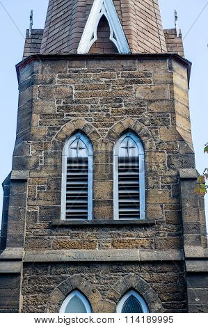 Louvred Windows In Stone Church