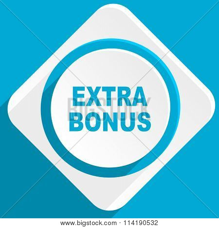 extra bonus blue flat design modern icon for web and mobile app