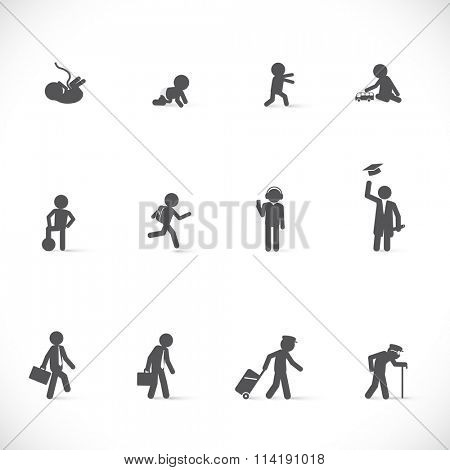 Life of one person from beginning to end, from birth to death. Vector illustrative story (human in different life ages - figure set)