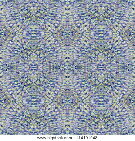 Small Pattern With Short Hand Drawn Strokes With Kaleidoscopic Effect. Seamless Texture