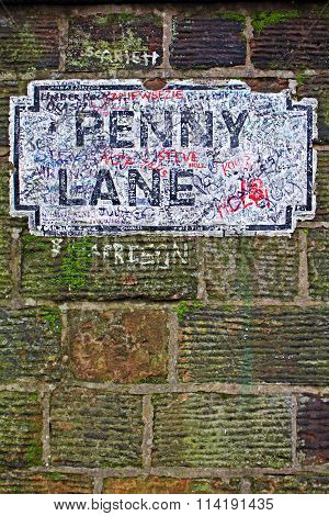 Penny Lane Street Sign, A Popular Photo Opportunity For Tourist's In Liverpool Uk.