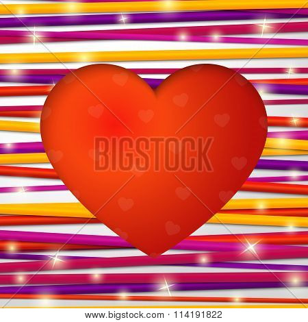 Greeting card made from bundle of bright laces with red heart cut through the paper. For Happy Valen