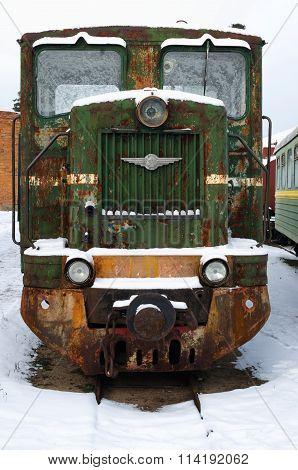 PERESLAVL, RUSSIA - 01/01/16: Old rusty train, left in Russian railway museum.