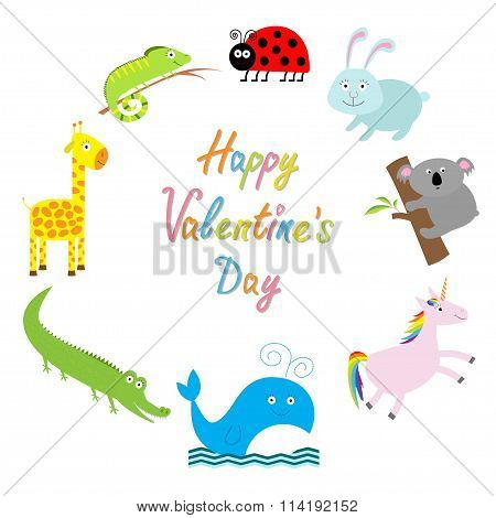 Happy Valentines Day. Love Card. Cute Animal Frame. Baby Background. Ladybug, Koala, Whale, Rabbit,