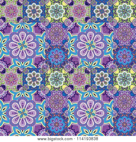 Seamless pattern on the tiles, majolica, arabic, lilac, blue, yellow, vector