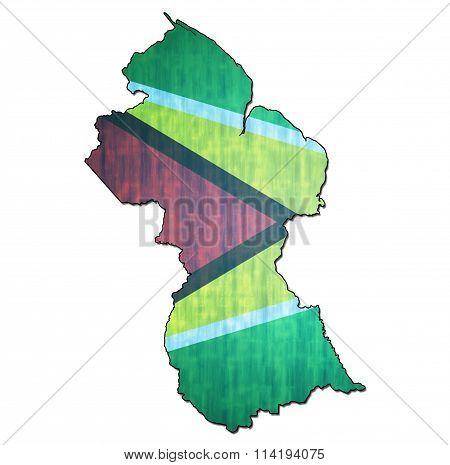 Guyana Territory With Flag