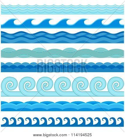 Waves flat style vector seamless icons collection. Wave icons isolated on white background. Wave icons set. Wave seamless pattern blue color illustration. Wave icons isolated. Different sea water wave