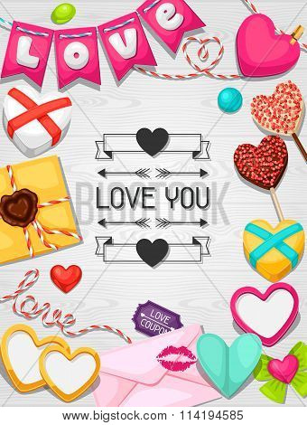 Greeting card with hearts, objects, decorations. Concept can be used for Valentines Day, wedding or
