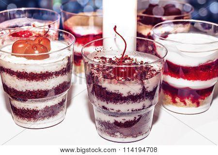 Multi-layer Dessert With Cherries And Chocolate.