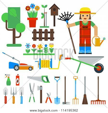 Gardening tools vector icons isolated on white background. Gardener and garden tools icons.