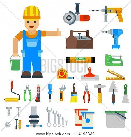 Home repair tools vector icons. Repair vector sign flat modern style vector illustration. Repair icons isolated on white background. Repair tools, repair man profession silhouette