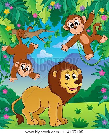 Animals in jungle topic image 3 - eps10 vector illustration.