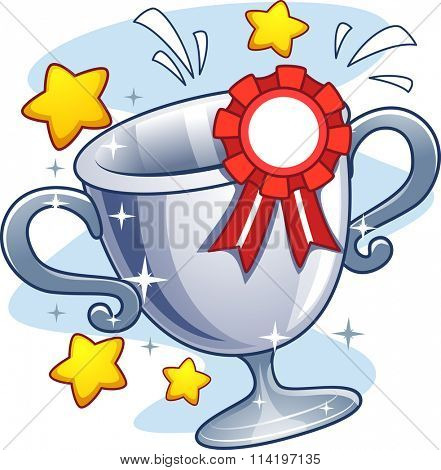 Illustration of a Cup Trophy with a Ribbon Pinned to It