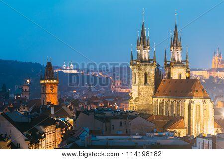 Night cityscape of Prague, Czech Republic. Old town hall, Church