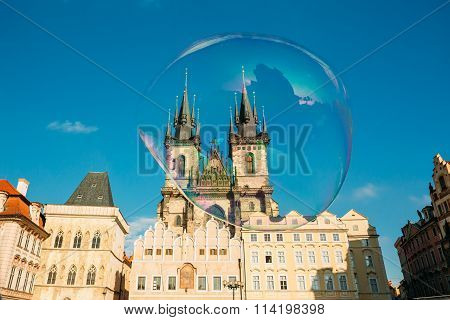 Soap bubble on the background of Church Of Our Lady Before Tyn I
