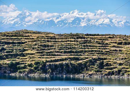 View Of The Isla Del Sol On Lake Titicaca In Bolivia