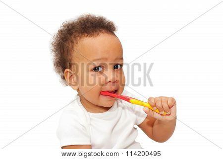 Black Baby Toddler Brushing Teeth.