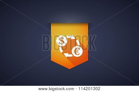 Long Shadow Ribbon Icon With A Dollar Euro Exchange Sign