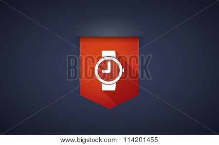 Long Shadow Ribbon Icon With A Wrist Watch