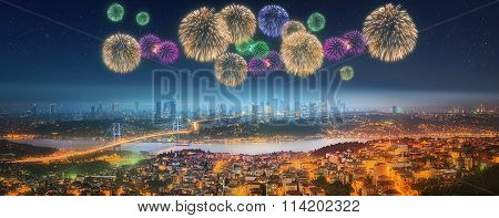 Panorama of Istanbul at night with fireworks
