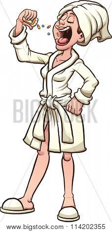 Woman in a short bath robe taking pills. Vector clip art illustration with simple gradients. All in a single layer.