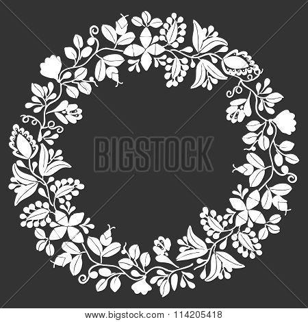 White floral vector frame on black background