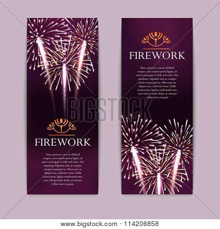 Set of fireworks, festive vertical banner, firecracker vector illustration
