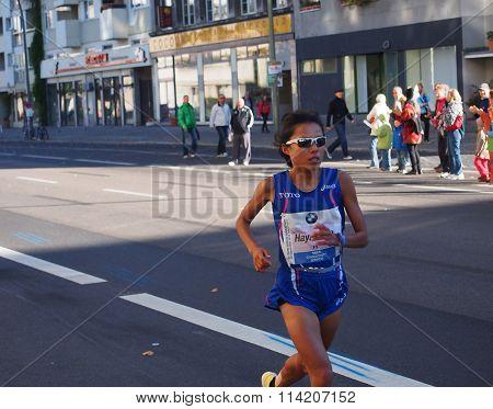 Japanese marathon runner Eri Hayakawa running Berlin Marathon 2013