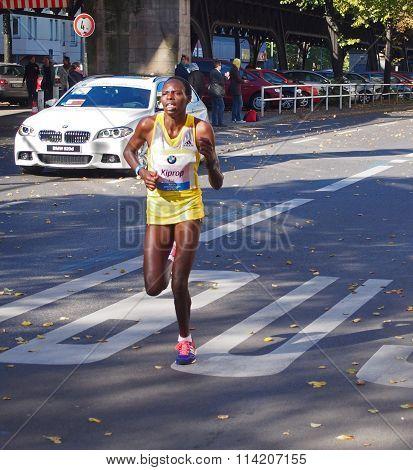 Kenyan marathon runner Helah Kiprop running Berlin Marathon 2013