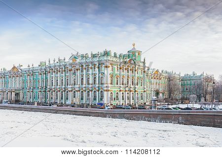 Building Of The Hermitage (winter Palace) In Winter, Saint Petersburg