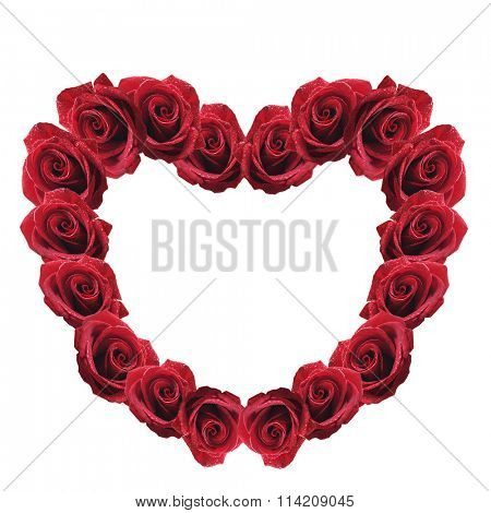 red rose heart isolated on white background