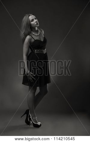 Seductive brunette in a beautiful stylish dress on a dark background.