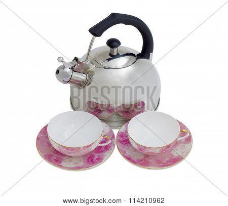 Kettle And Two Cups With Saucers On A Light Background
