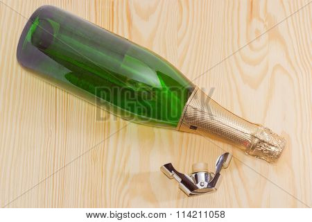 Bottle Sparkling Wine And Special Stopper For Wine Storage
