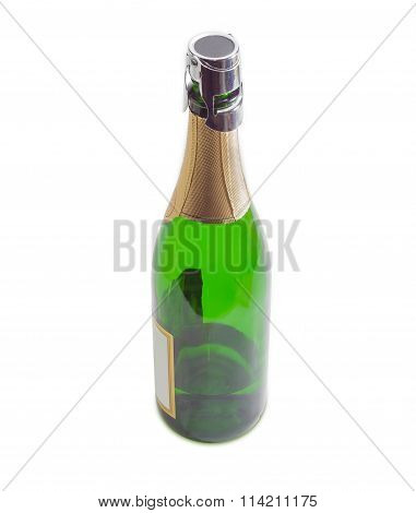 Wine Stopper On A Bottle With Sparkling Wine Closeup