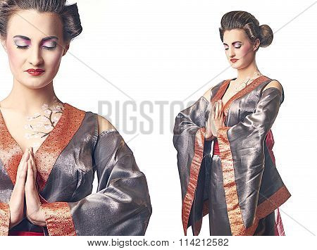 Two images of Geisha style woman with hands together