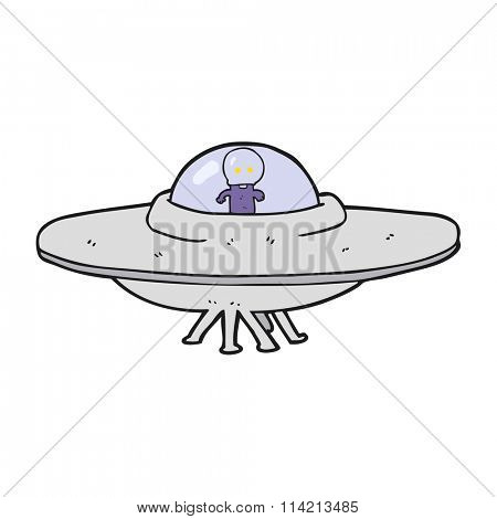 freehand drawn cartoon alien flying saucer