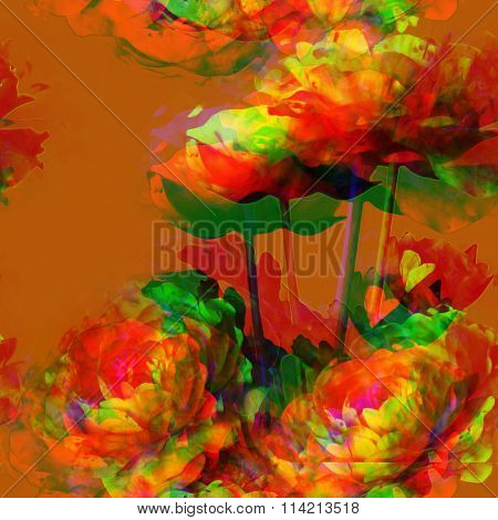 art vintage floral seamless pattern  with golden, orange and green peonies on orange brown background. Double Exposure effect